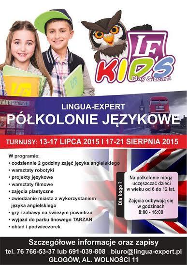 PLAKAT – Półkolonie językowe z głogowską szkołą Lingua-Expert