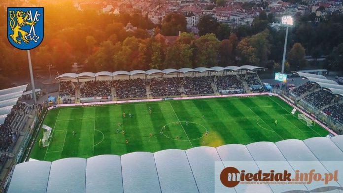 Miedziak Miasto Legnica Panorama z lotu ptaka stadion piłkarski 01